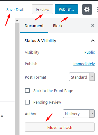 Step 5: In the left-sidebar, you can find options like Save Draft, Preview page, Publish content, Format, Move to trash, and more.