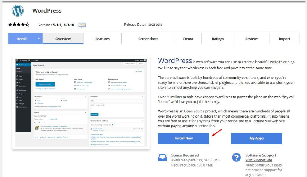 Installation of WordPress