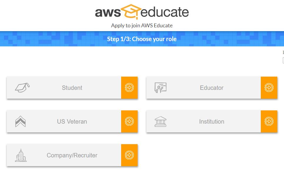 Amazon AWS Educate Program, Apply for AWS Educate