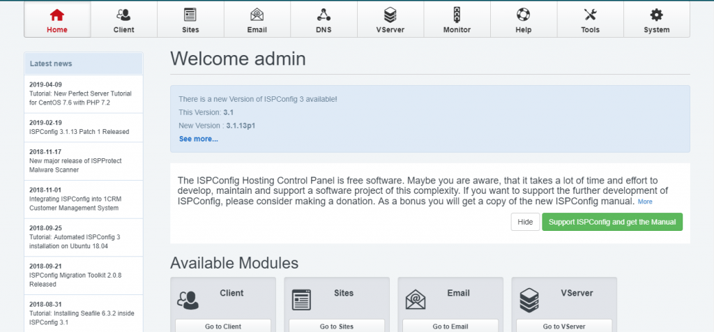 Free cPanel Alternatives, ISPconfig