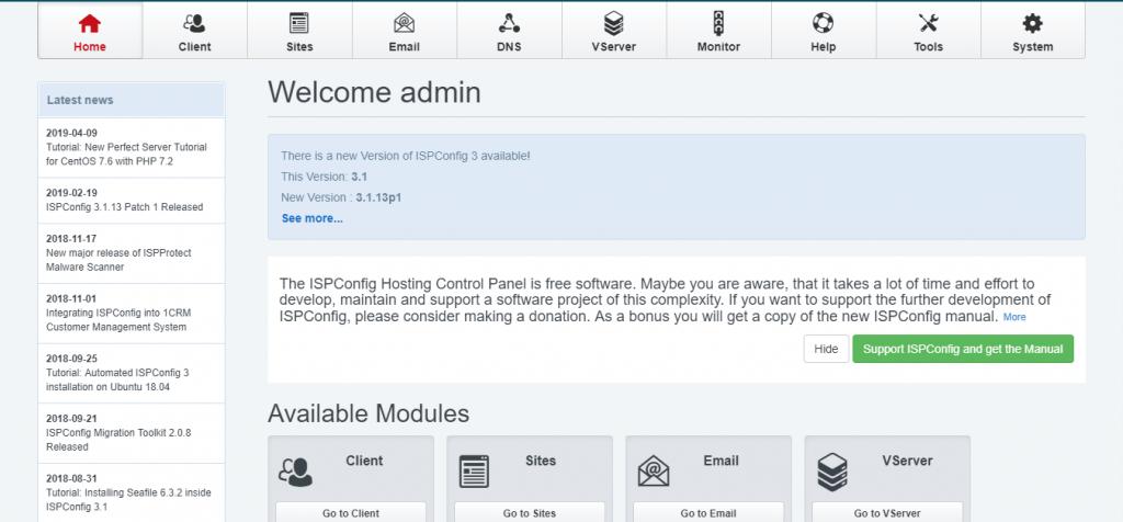 Free cPanel Alternatives, ISPconfig
