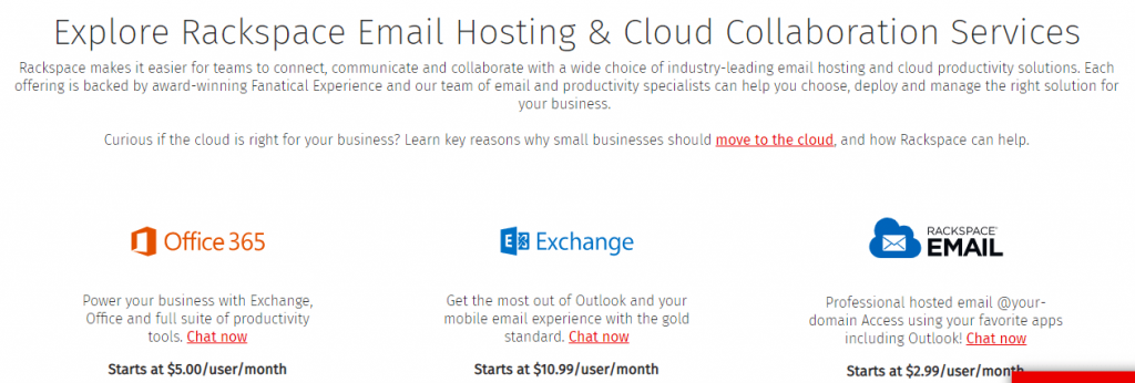 best email hosting for small business, Rackspace
