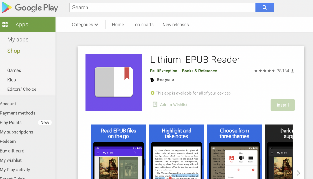lithium best ebook readers for Android