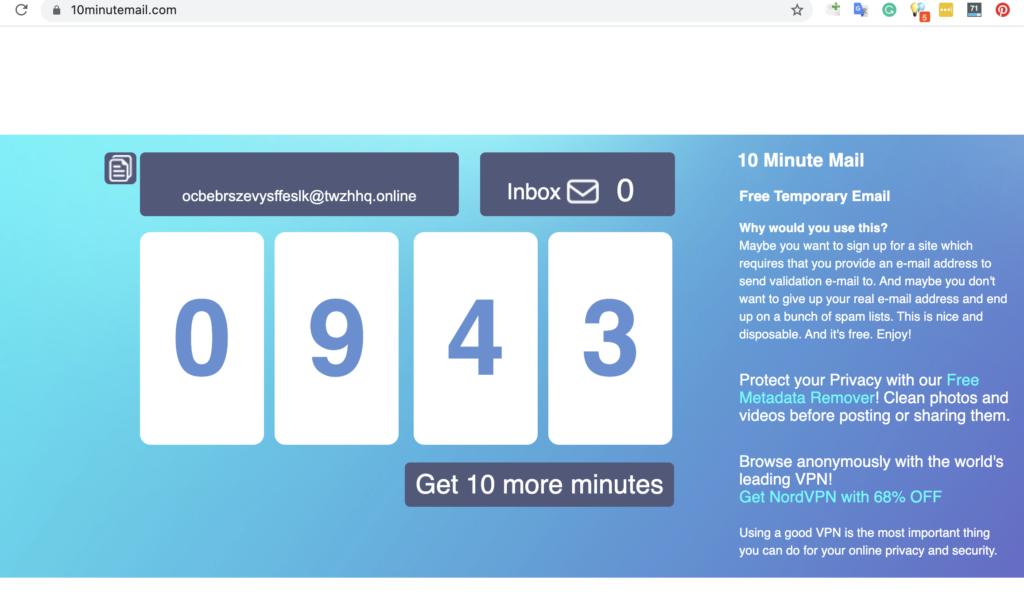 10minutemail.com free fake email generator