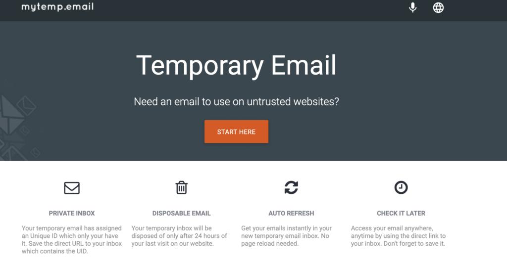 MyTemp fake email generator