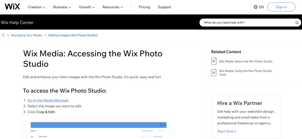 Wix free photo Hosting