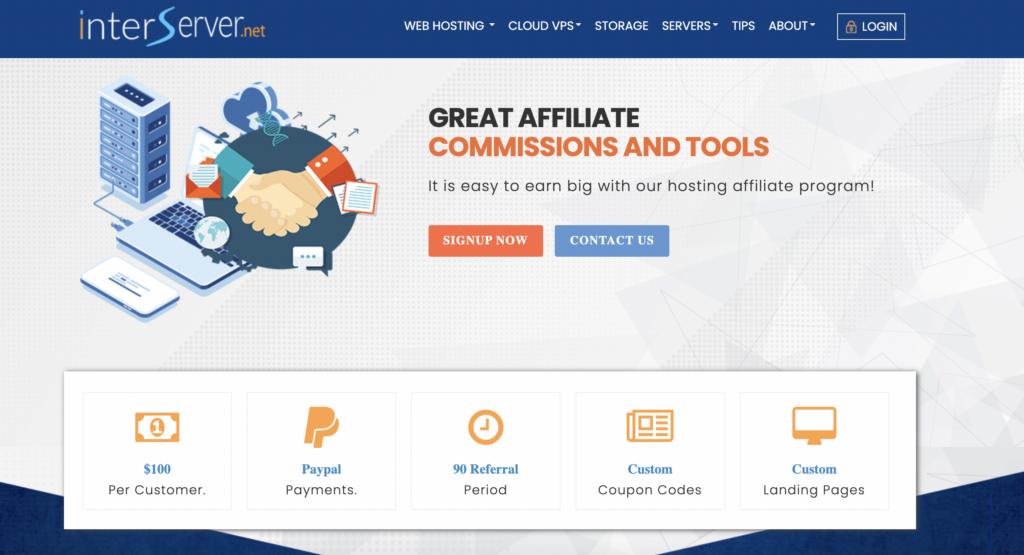 Interserver Best web hosting affiliate program